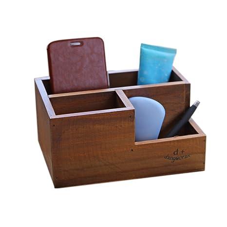 gespout cajas de almacenamiento de madera retro cuatro Grids cajas para maquillaje joyas flores, madera