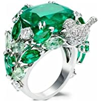 Women Men 11ct Emerald 925 Silver Jewelry Wedding Engagement Party Ring Size 6-10 (7)