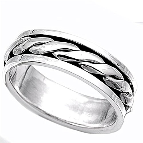 (Sterling Silver Men's Braided Rope Spinner Ring Unique 925 Band 7mm Size 12)