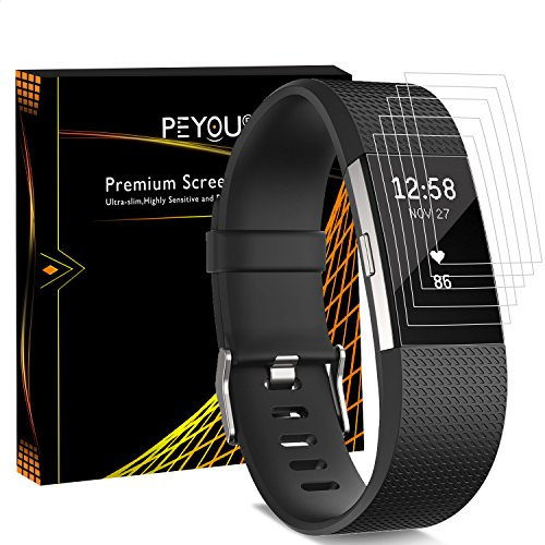 [6 PCS] Screen Protector For Fitbit Charge 2, Peyou® [Full Coverage] HD Crystal Invisible Premium Film Screen Protector For Fitbit Charge 2 2016 Version [Lifetime Replacements]