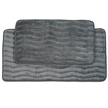 Lavish Home 2-Piece Memory Foam Bath Mat Set, Platinum