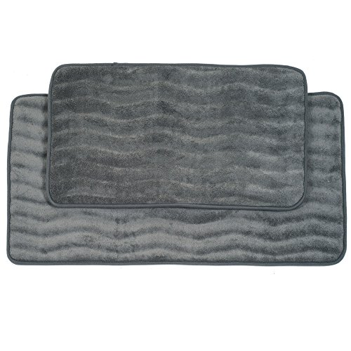 Lavish Home 2-Piece Memory Foam Bath Mat Set, Platinum (Memory Foam Bath Mat Set)