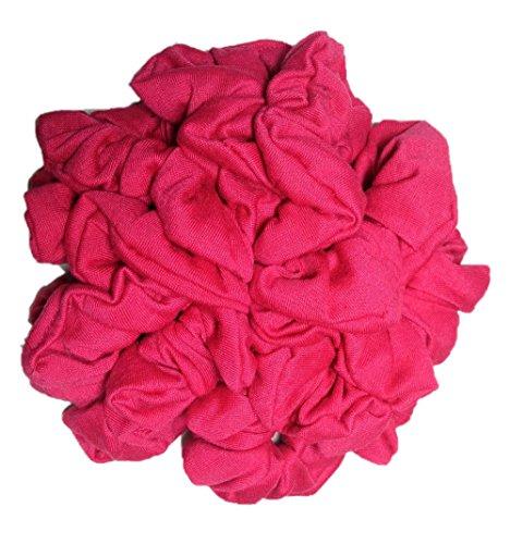 Cotton Scrunchie Set, Set of 10 Soft Cotton Scrunchies, Solid Color Packs (Hot Pink) (80s Group Costumes)