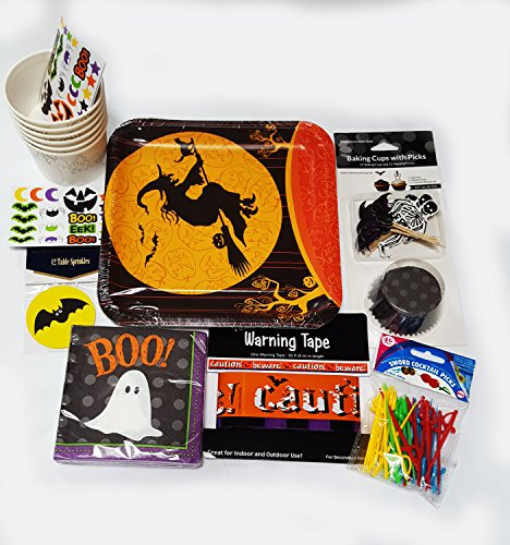 Halloween Party Supplies Bundle, Witch Plates, Ghost Napkins, Baking Cup With Bat and Skeleton Picks, Warning tape - Perfect for School, Office and Home Halloweens' Party and Spooky Night of Fun]()