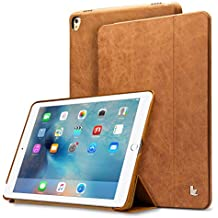 """Jisoncase iPad Pro 9.7"""" Leather Case, iPad Pro 9.7"""" Vintage Genuine Leather Magnetic Smart Cover Case Flip Folio Protective Case with Auto Wake/Sleep Function Screen Protector for Apple iPad Pro 9.7"""""""