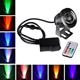 Remote Control 10w 12v Water resistant RGB Underwater Light Lamp for Landscape Fountain Pond Lighting Outdoor Security Color Changing LED Light with 24Key Remote Control and Plug (Black)