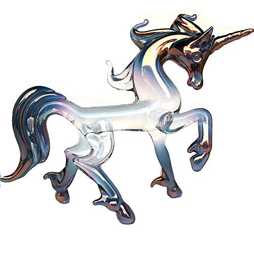 Prochaska Gallery Hand Blown Glass Unicorn Prancing Figurine