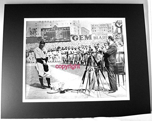Treasure Chest Shoppe Lou Gehrig Farewell Luckiest Man Speech Vintage Photo Double Matted 11x14 Overall 8x10 Image
