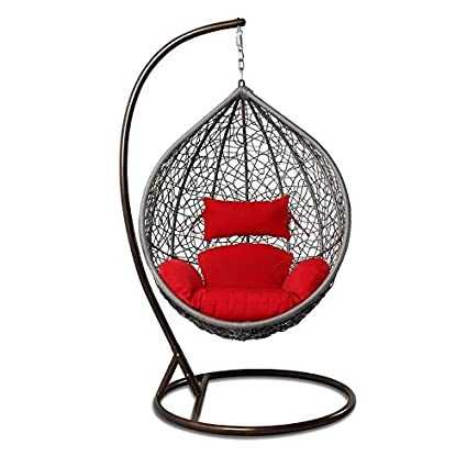 Arcwood Interiors Rattan & Wicker Single Seater Swing Chair (Grey_114.3 x 91.4 x 76.2 Cm)With Stand