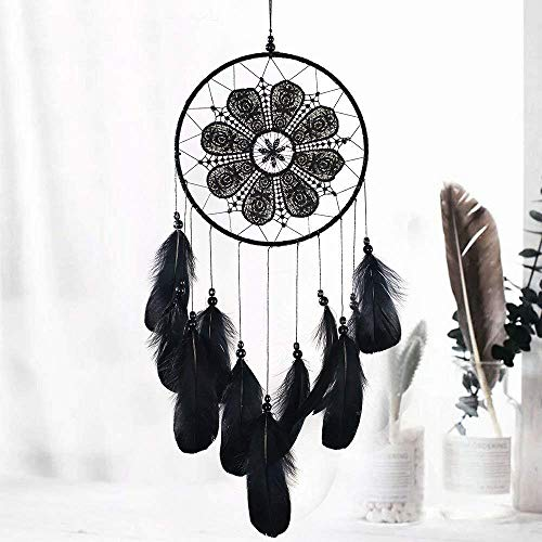 Morinostation Handmade Dream Catchers, Black Feather Lace Dreamcathers for Wall Hanging Boho Weeding Decorations(Dia 7.8