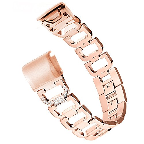 Fenix 5S Watch Band, YOOSIDE 20mm Easy Fit Stainless Steel Metal Bling-Bling Quick Release Watch Band Strap for Garmin Fenix 5S/5S Plus,Fit Wrist 4.7-8.2 inch (D Rose Gold)