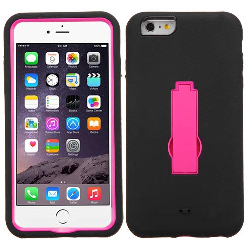 Asmyna Symbiosis Stand Protector Cover for iPhone 6 Plus - Retail Packaging - Hot Pink/Black