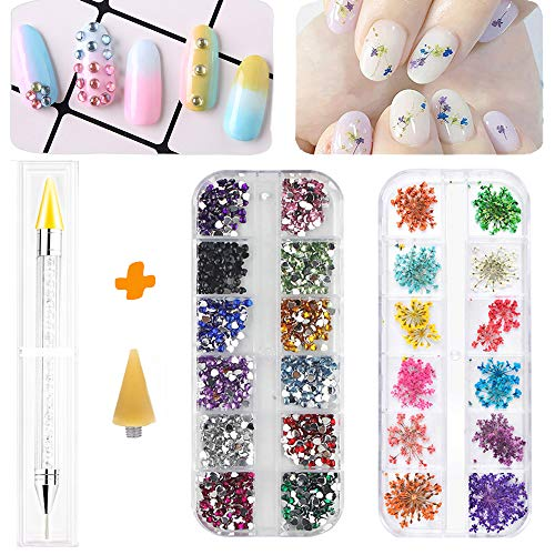VORRTE Crystal Jewel Picker Setter,Dual-ended Pick Up Applicator Tool Set-for Pick Up Nail Gem Crystal Jewelry, Rhinestone...