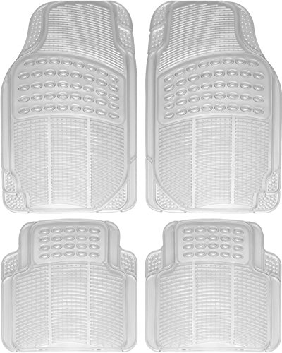OxGord 4pc Set Ridged Heavy Duty Rubber Floor Mats - Clear