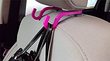 Car Headrest Hook Black/&Red Pack of 2 Good Quality Leather Vehicle Back Seat Hanger Storage for Purse Groceries Bag and More