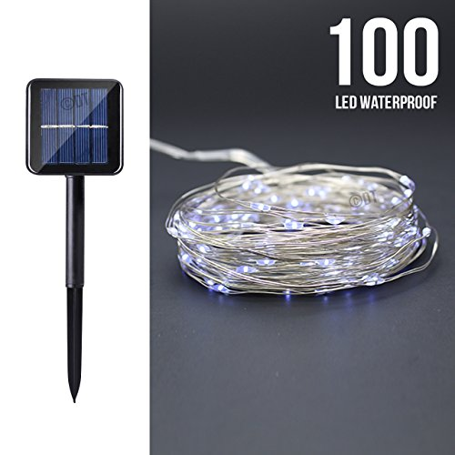 Solar Powered White 10M/33FT 100LED Copper Wire Outdoor String Fairy Light NEW (Cool White) (Strips Trend)