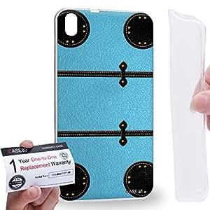 Case88 [HTC Desire 816] Gel TPU Carcasa/Funda & Tarjeta de garantía - Art Fashion Sky Blue Luggage Art1880