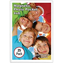 Magtech Magnetic Photo Pocket Frame, White, Holds 4 x 6 Inches Photos, 25 Pack