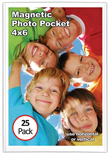 Magtech Magnetic Photo Pocket Frame, White, Holds 4 x 6 Inches Photos, 25 Pack (Magnets Refrigerator Plastic)