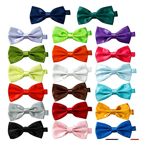 20 Pcs Elegant Pre-tied Bow ties Formal Tuxedo Bowtie Set with Adjustable Neck Band,Gift Idea For Men And Boys ()