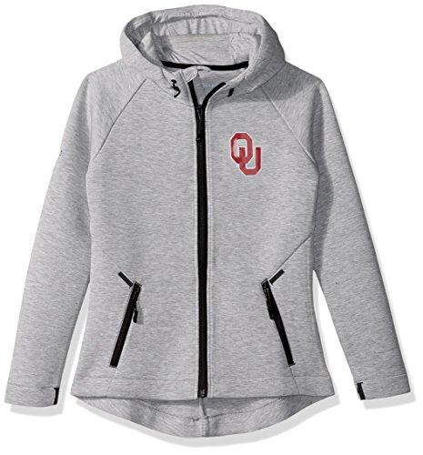 Levelwear LEY9R NCAA Oklahoma Sooners Adult Women Motion Insignia Full Zip Hooded Jacket, Large, Heather Pebble - Sooners Oklahoma Pebble