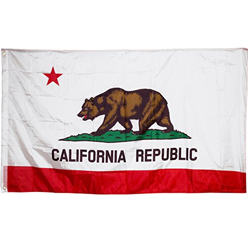Adorox 3 x 5 California State Flag Lone Star State Polyester Banner Grizzly Bear (2 pcs)