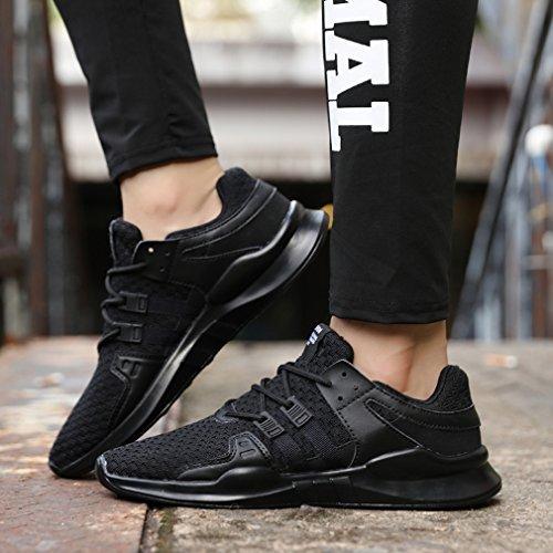 Shoes Unisex Sneakers Adulto Donna Trekking Respirabile Ginnastica Fitness Mesh Scarpe Sport Basse Corsa Uomo Tennis Sportive GUDEER Running 716nero Outdoor da CZIUqawc1