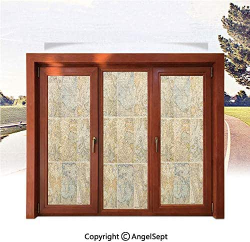 Heat Control Decorative Stained Glass Window Films,Collage with Antique Old World Maps Vintage Style Ancient Collection of Civilization Print 22.8