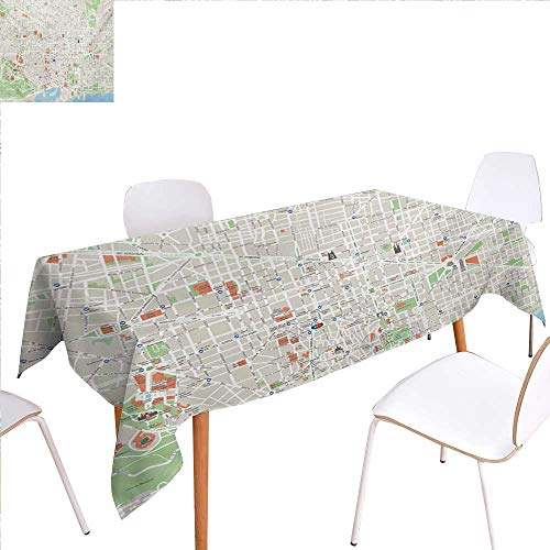 familytaste Map Washable Tablecloth Map of Barcelona City Streets Parks Subdistricts Points of Interests Waterproof Tablecloths 60