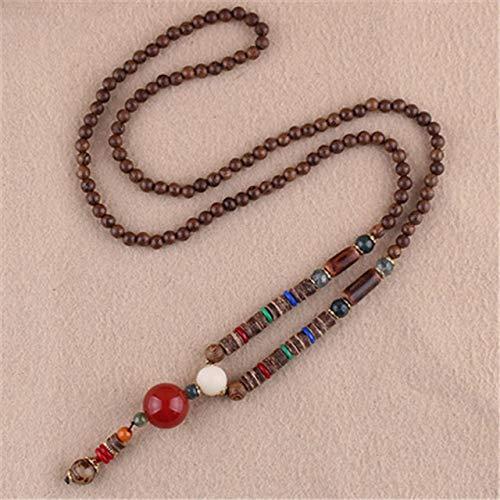 POLPEP National Retro Necklace Pendant Women Girls Long Sweater Chain Wooden Prayer Beads Bodhi Men Man Summer Fashion (red Agate Beads Wood
