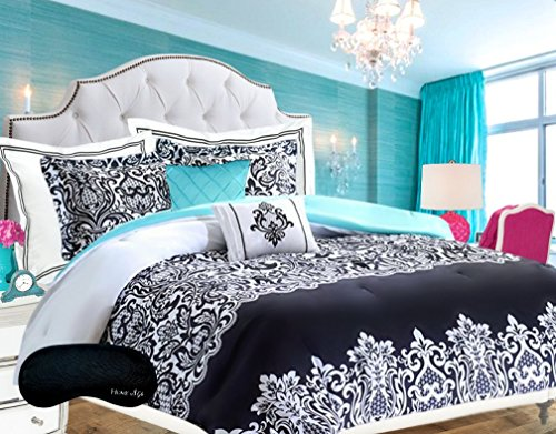 Teen Girls Bedding Damask Comforter SUPER SET Black and White Aqua Blue Teal Full Queen + 2 Shams + 2 GORGEOUS Throw Pillows & Home Style Brand Sleep Mask HUGE 6 Pc. Bedspread Sets for Girl Kids
