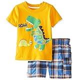 Meeyou Little Boys' Cotton Short Sleeve T-Shirt & Plaid Shorts Set(3T,Roaring Dinosaur)