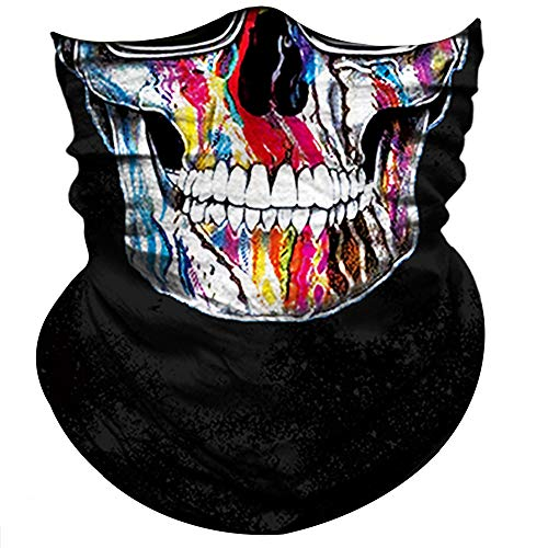 Obacle Skull Face Mask Half for Sun Dust Protection, Vivid 3D Tube Mask, Durable Face Mask Bandana Skeleton Face Shield for Motorcycle Fishing Hunting Cycling Riding Festival (Glass Hip-HOP Skull)