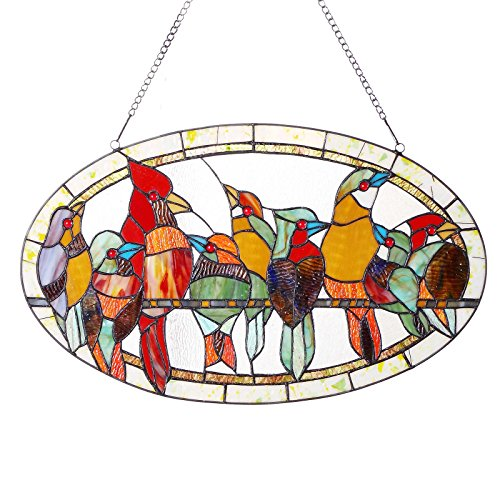 Tropical Birds Tiffany Style Stained Glass Window Panel with Chain ()