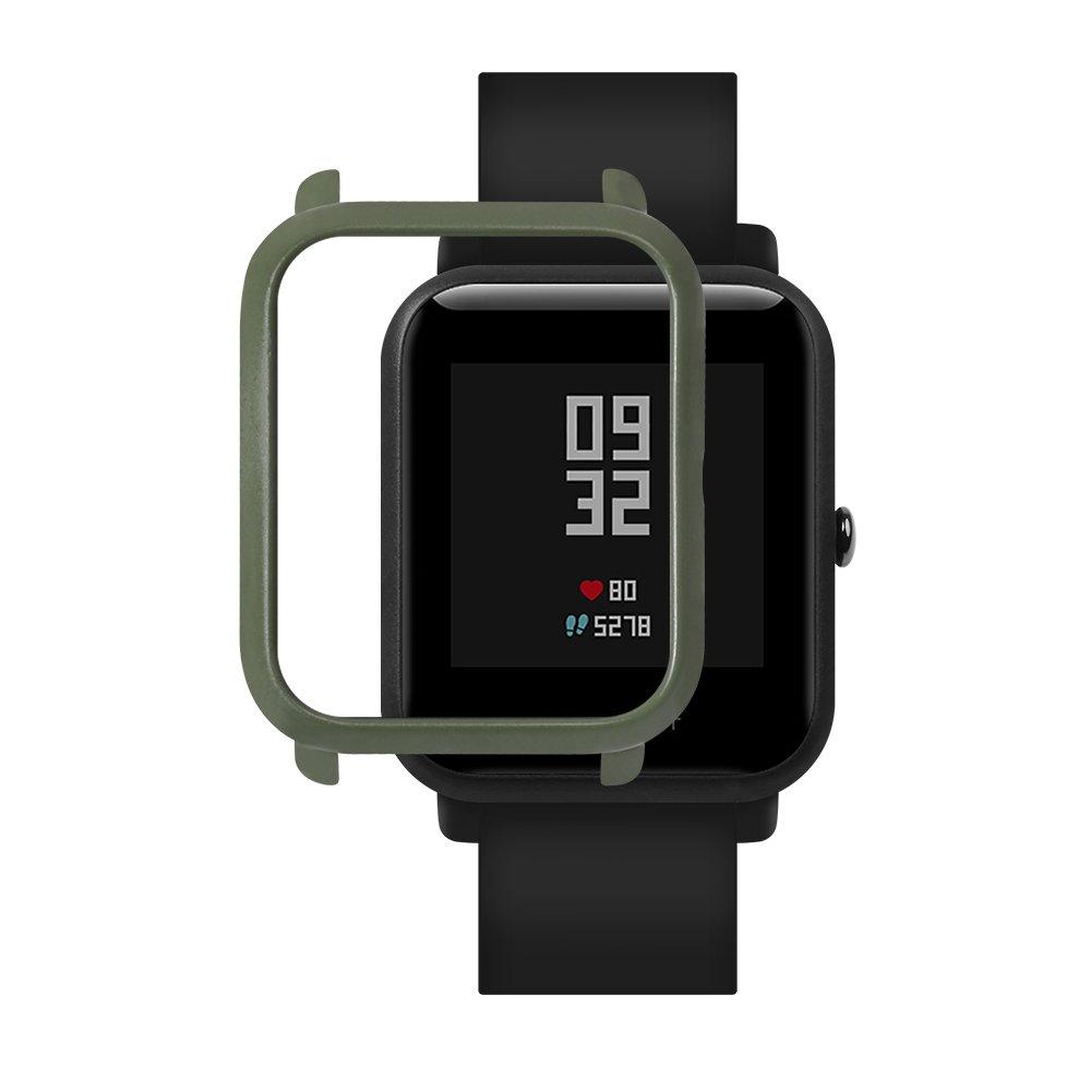 sikai case Cubierta de la caja elegante Compatible con Huami Amaz Fit Bip reloj Smart Watch para ejercito verde