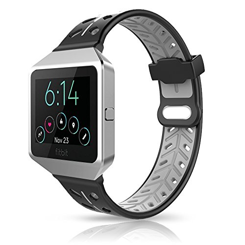 For Fitbit Blaze Bands Accessory, VODKE Silicone Ventilate Replacement Watch Band/Strap/Bracelet/Wristband With Frame For Fitbit Blaze Smart Fitness Watch Men Women (Black+Grey) ()