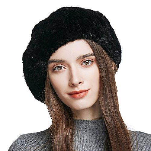YINONIY Women's Winter Beret Beanie Genuine Mink Fur Beret Hat