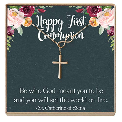 Dear Ava First Communion Gift Necklace: 1st Communion, Girl First Holy Communion, Infinity Cross (Rose-Gold-Plated-Brass, NA) -