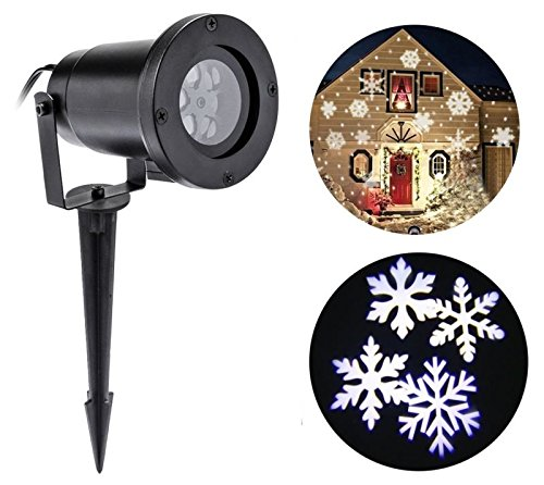 Christmas Projector Lamp Moving White Snowflake LED Landscape Projection Lights Outdoor/Indoor Decor (Christmas Projector Light)