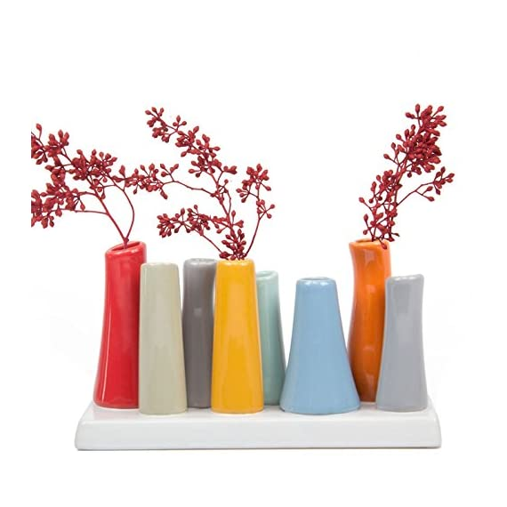 "Chive - Pooley 2, 7.25"" Long 3"" Wide 4.5"" Tall Unique Rectangle Ceramic Flower Vase, Small Bud Decorative Floral Vase Home Decor Centerpieces, Arranging Bouquets, Connected Tubes (Red, Blue, Orange) - MODERN MINIMALISTIC FLORAL VASE: Chive offers another outstanding, unique and original way to decorate your house with flowers. Use it on your desk, in your living room, or on a window sill to add a pop of color and liven up a dull space. Works brilliantly as a small indoor low laying centerpiece for your dining room table. MULTI PURPOSE FLORAL ARRANGING: This is a perfect flower vase to use for artificial flower arranging and for wedding centerpieces. SIMPLE ELEGANT DESIGN: This is a Set of 8 tubes attached to the base. You can fill all 8 tubes and pop your favorite fresh cut flower in each. The Pooley 2 vase looks gorgeous with roses and tulips. - vases, kitchen-dining-room-decor, kitchen-dining-room - 514HTm%2B4CsL. SS570  -"