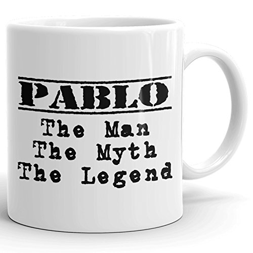 Best Personalized Mens Gift! The Man the Myth the Legend - Coffee Mug Cup for Dad Boyfriend Husband Grandpa Brother in the Morning or the Office - P Set 1