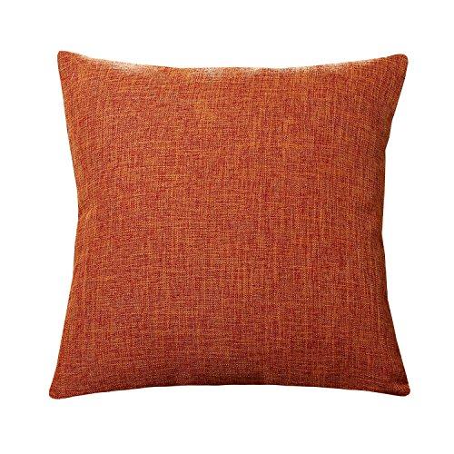 U'Artlines Pillowcase Covers, Slubbed Linen Orange Pillow Case Decorative Cushion Cover Pillowcase for Sofa Pillow Cover