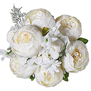 Luyue Vintage Artificial Peony Silk Flowers Bouquet Home Wedding Decoration (Spring White) 87
