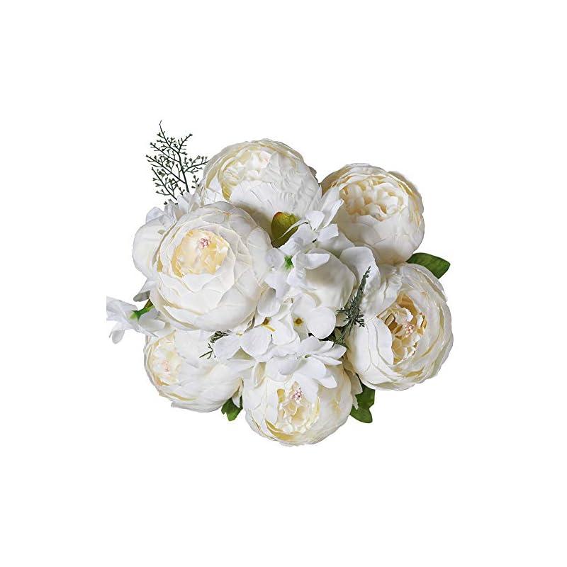 silk flower arrangements luyue vintage artificial peony silk flowers bouquet home wedding decoration (spring white)