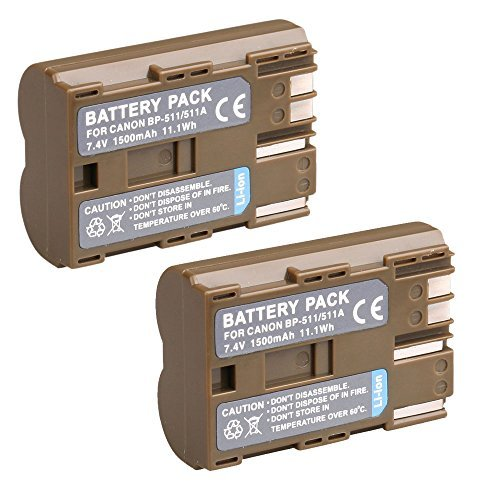 BP-511/BP-511A Battery for Canon EOS 5D, 50D, 40D, 20D, 30D, 10D, Digital Rebel, 1D, D60, 300D, D30, Kiss, Powershot G5, Pro 1, G2, G3, G6, G1, Pro90 is, Optura 20, Xi, 10, PI, 200MC, 100MC(Pack of 2)