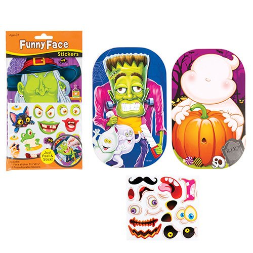 Halloween Funny Face Sticker Sets for Kids Fun-Packed Halloween Toys at Pocket Money Prices - Perfect Party Bag Fillers for Children (Pack of 4)