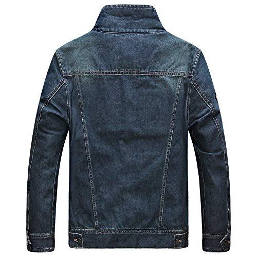 Giacche Uomo Comode Cappotto Lunghe Hx Blu In Tasca Bottoni Fashion Casual A Con Denim Taglie Da Jeans Abiti Maniche Cappuccio Scuro Laterali CvaX5zqax