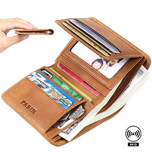 Pabin RFID Blocking Wallet for Men Bifold Genuine Leather Credit Card Holder Slim (Vintage Brown)