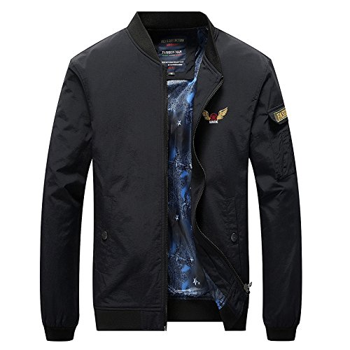 jacket casual an youth pocket Men's embroidered Black into jacket YZRcfq6