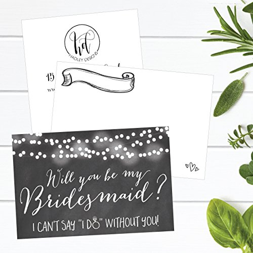 15 Will You Be My Bridesmaid Cards Chalkboard, I Can't Say I Do Without You, Rustic Proposal Note Cards For Gifts, Blank Chalk Ask To Be Your Bridesmaids Invitations Set, Asking A Bridesmaid Invite Photo #3